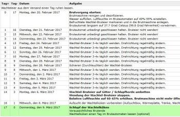 Brutplan / Brutkalender für Japanische Legewachteln, Chinesische Zwergwachteln, Schopfwachteln und andere Wachteln wachtel brutkalender brutplan Brutkalender / Brutplan für die Wachtelzucht